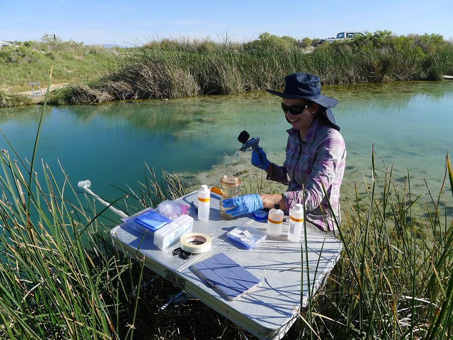 Water sampling Bridget Ayling.'