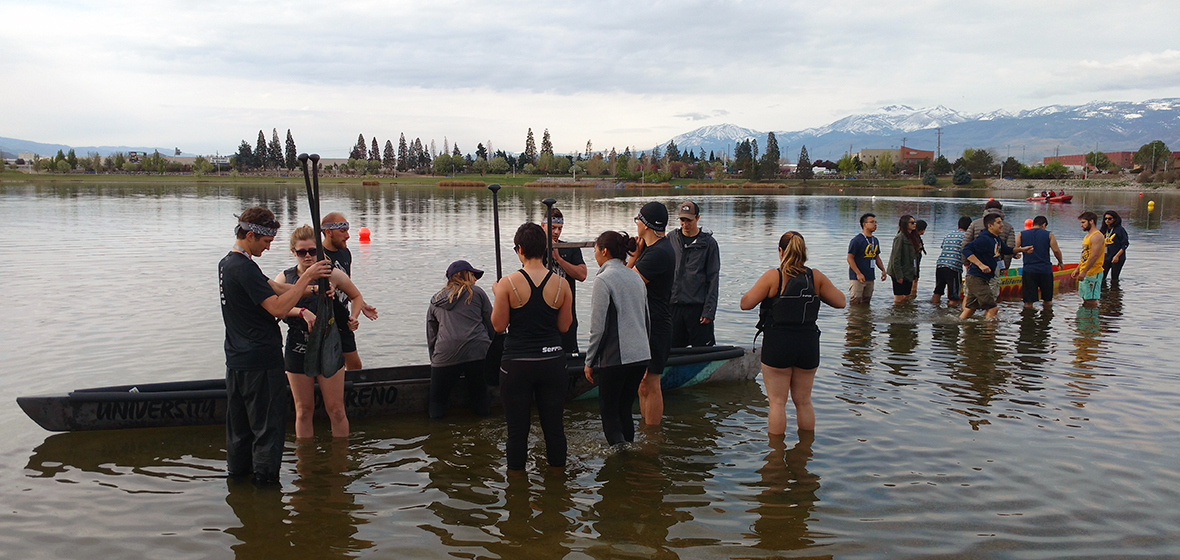 Students prep for canoe races.