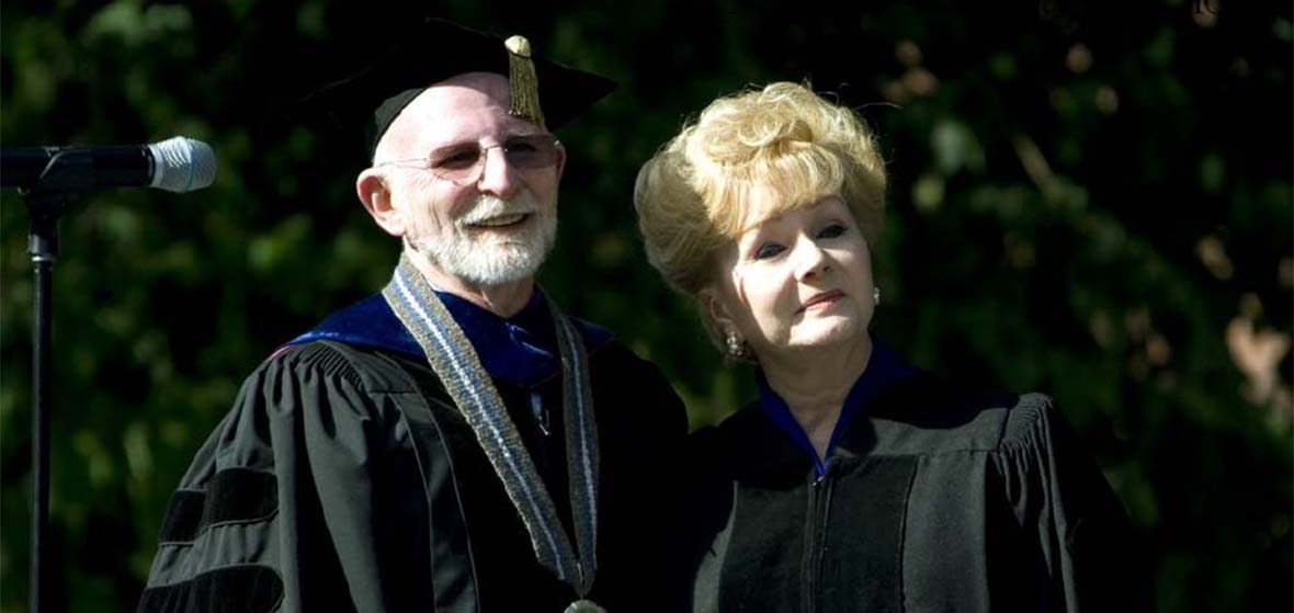 Late University President Milt Glick with the Late Debbie Reynolds