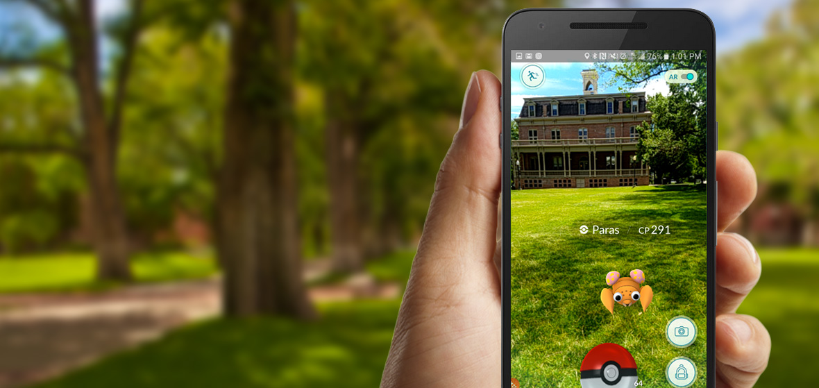 Morril Hall and the Quad through the augmented reality of Pokémon GO app on phone