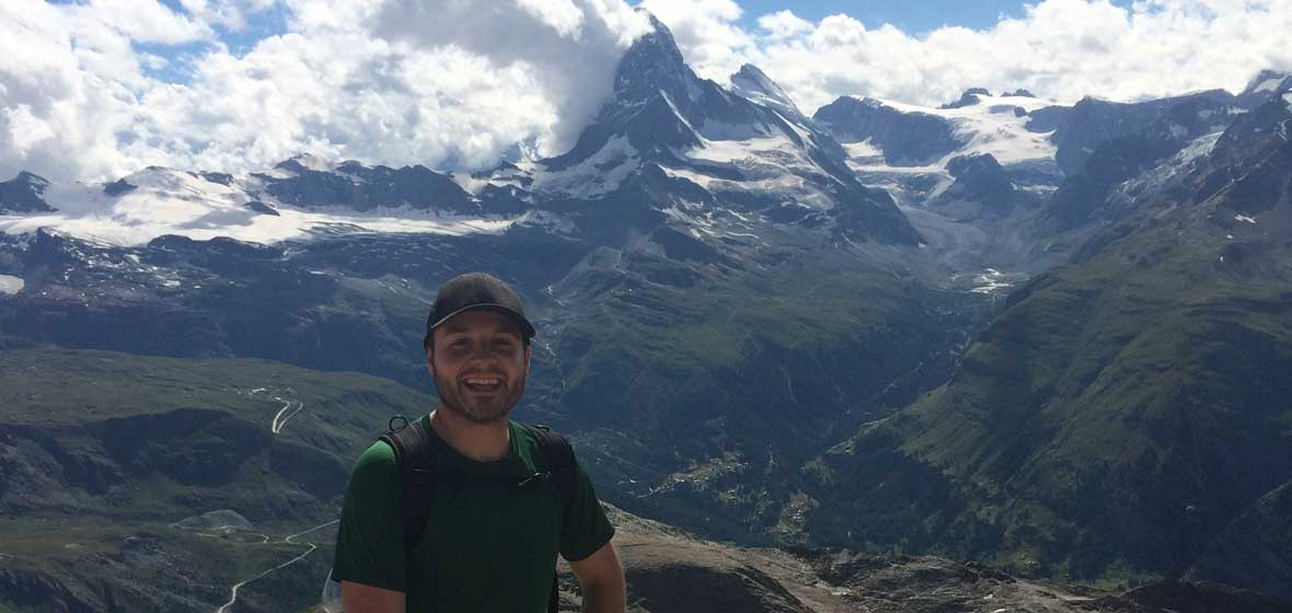 Guillermo Aramendia in front of the Matterhorn in Switzerland