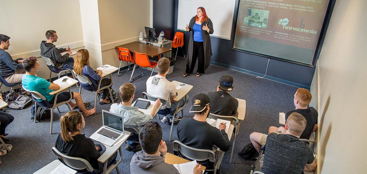 Students listening to lecture in a classroom
