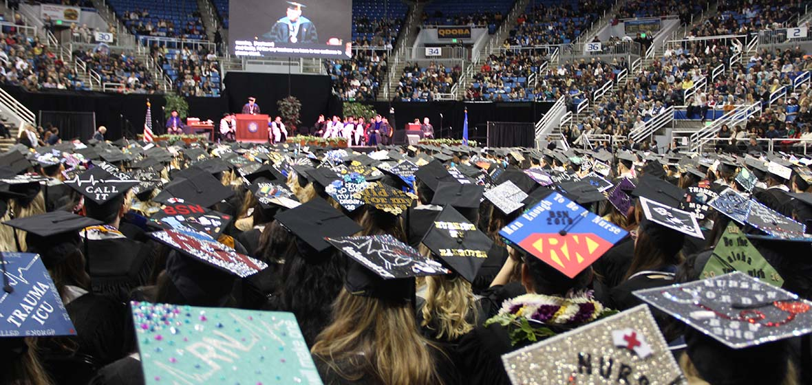 University of Nevada, Reno winter commencement graduation crowd in Lawlor Events Center