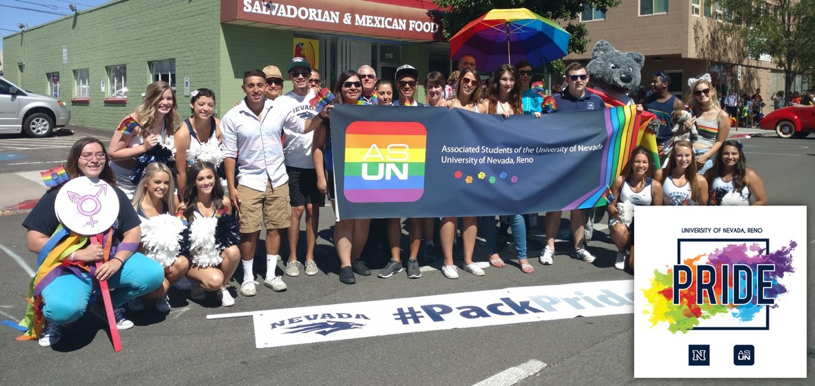 University students gathering before the 2016 Pride Parade (with 2017 pride logo in lower right corner)