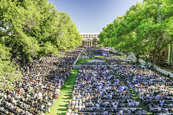 Ariel view of the Quad during Commencement