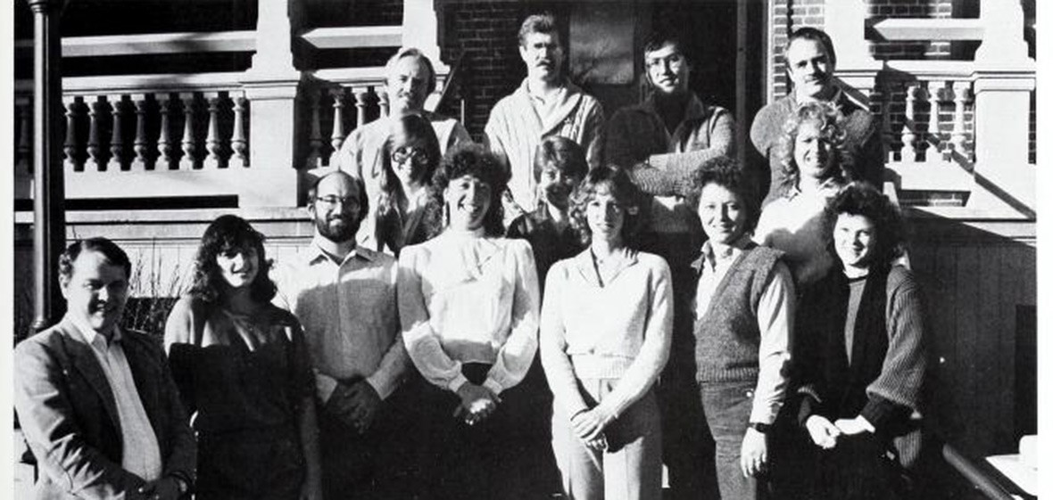 The 1986 GSA poses for a group photo in front of Morrill Hall