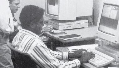 Graduate Student Satish Pullamanappallil works on the computer at the Mackay School of Mines, 1995