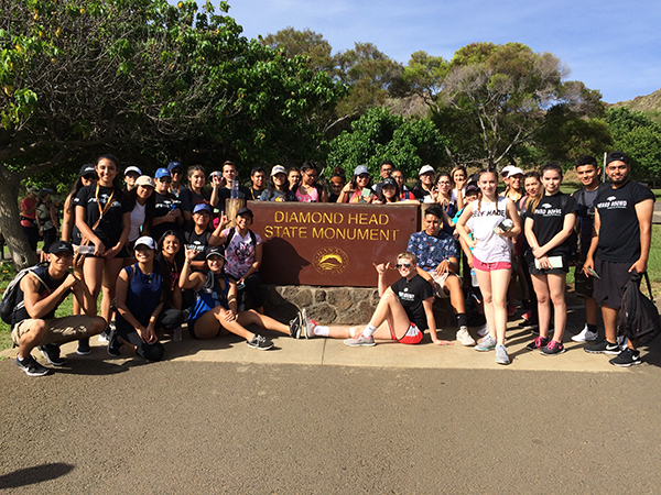 Upward Bound students gathered at Diamond Head State Monument