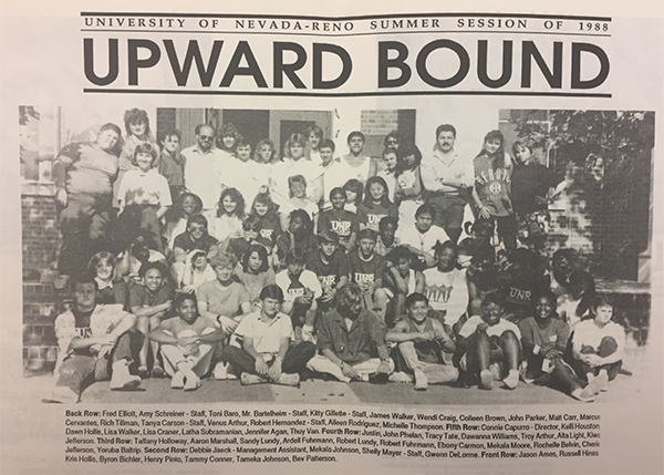 University of Nevada, Reno Summer Session of 1988 Upward Bound Newspaper Article