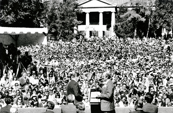 A crowd in the Quad to see President Reagan speak