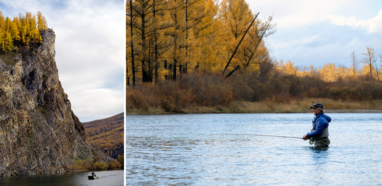 left: fishing boat in the Eg River. right: Scott Tyler fly fishing
