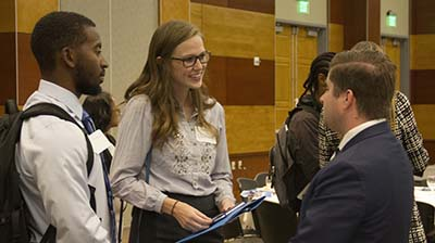 Liberal Arts students networking prior to the event