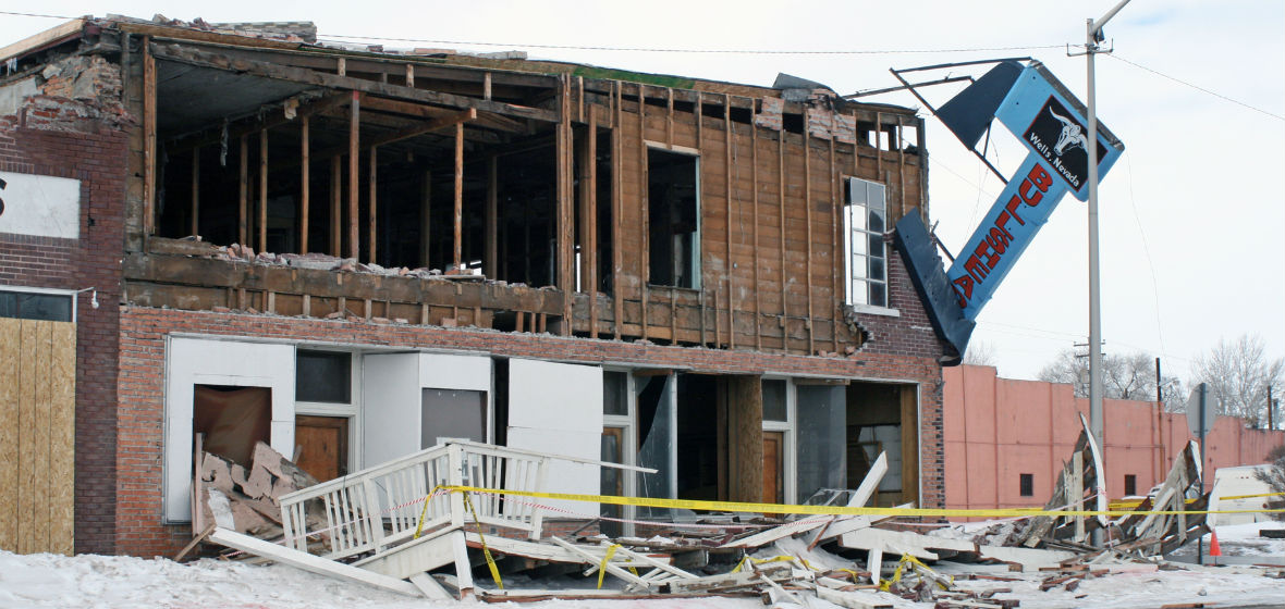 A destroyed building in Wells, Nevada following a 6.0 magnitude earthquake.