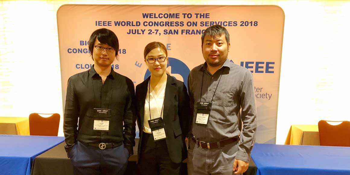 Feng Yan_ Xinying Wang and Dongfang Zhao at the IEEE International Conference on Cloud Computing in San Francisco