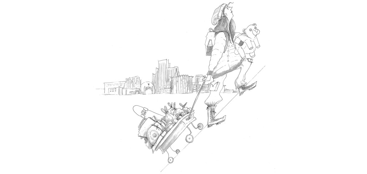Illustration of girl carrying teddy bear and dragging a wagon. The skyline of Reno is behind her.