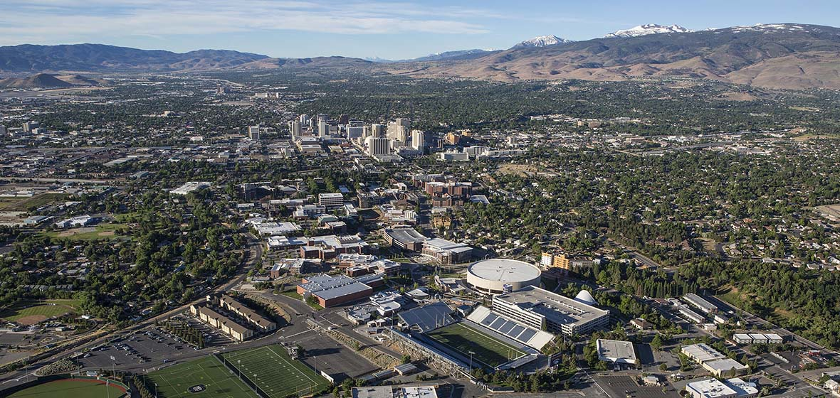 Campus aerial image from north campus looking toward south Reno