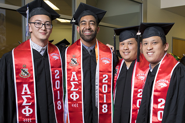 Graduates representing Greek Life at the Asian American & Pacific Islander Graduate Celebration