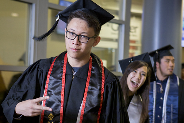 Graduates having fun at the Asian American & Pacific Islander Graduate Celebration