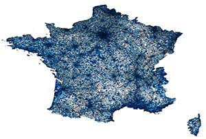 Map of tweets in France