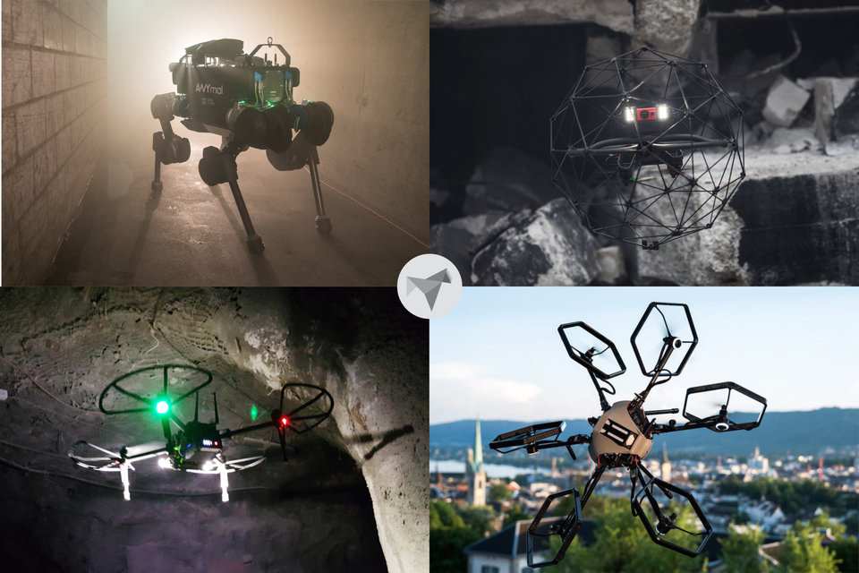 Computer renderings of four different Project CERBERUS robots performing a variety of tasks