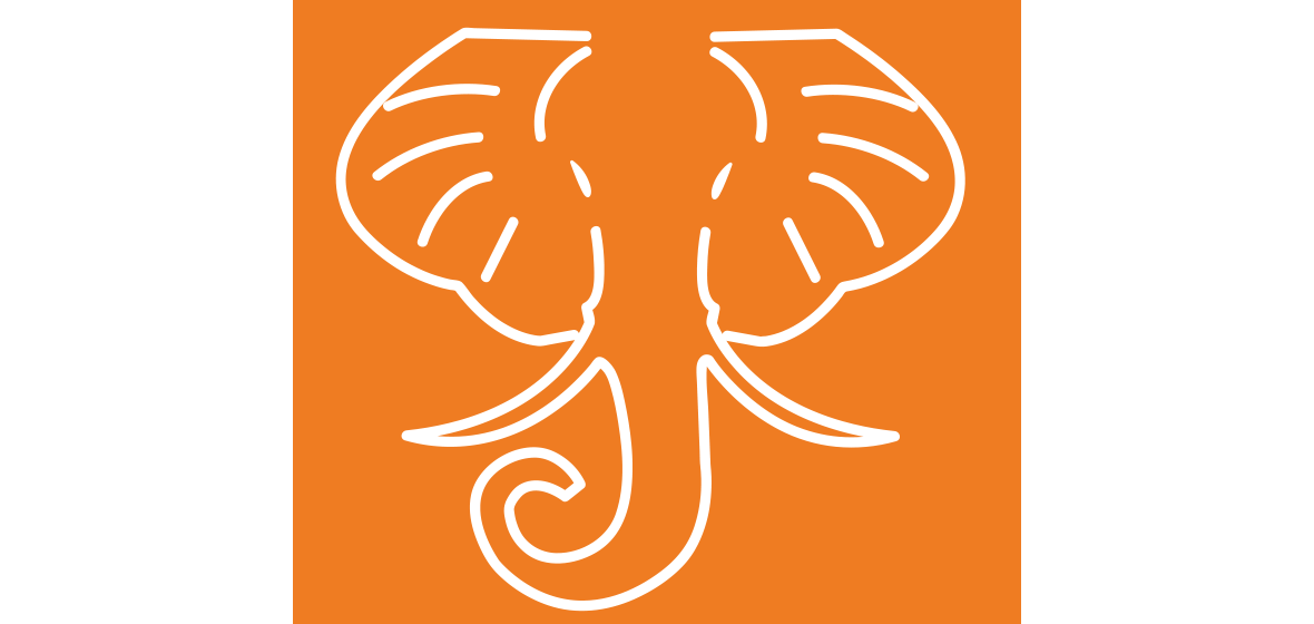 HathiTrust logo white elephant head outlined in white on an orange background