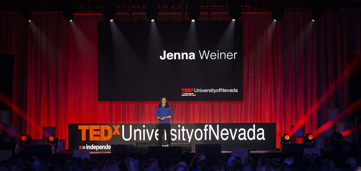 Jenna Weiner on stage at TEDx.