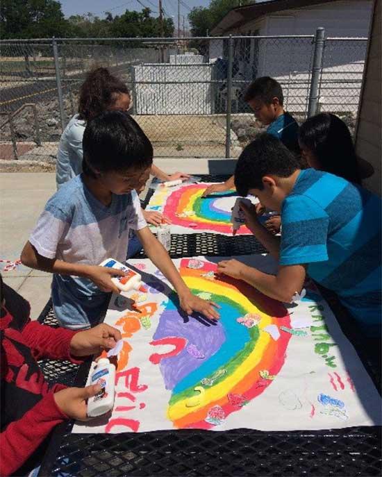 children making a poster