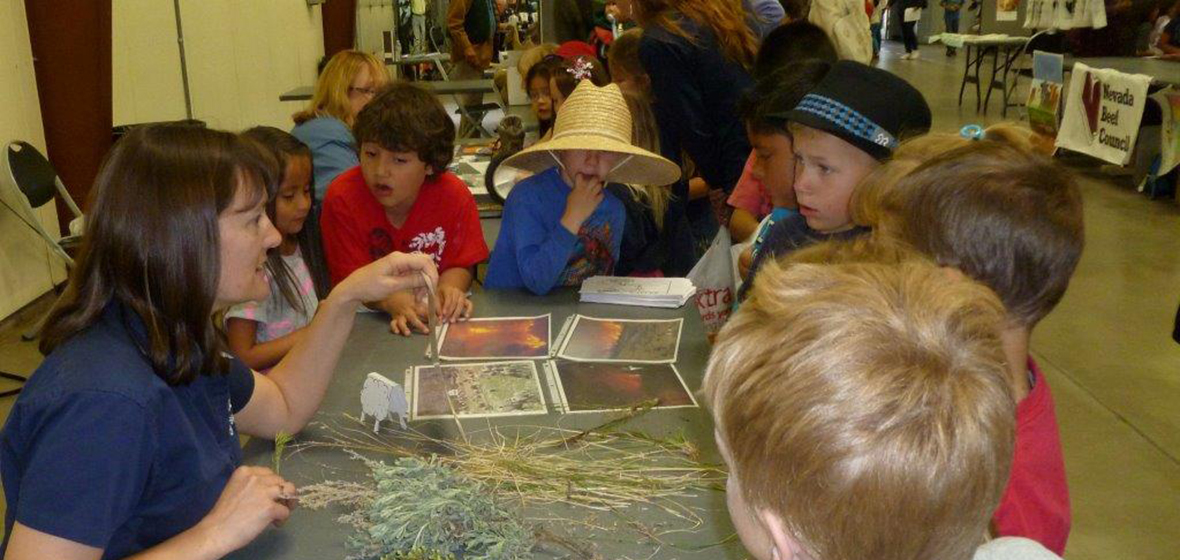 Elementary school students learning about vegetation.