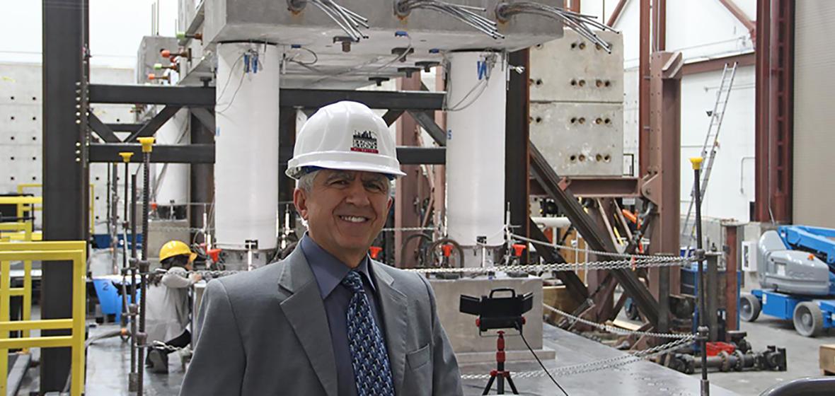 Saiid Saiidi in earthquake engineering lab