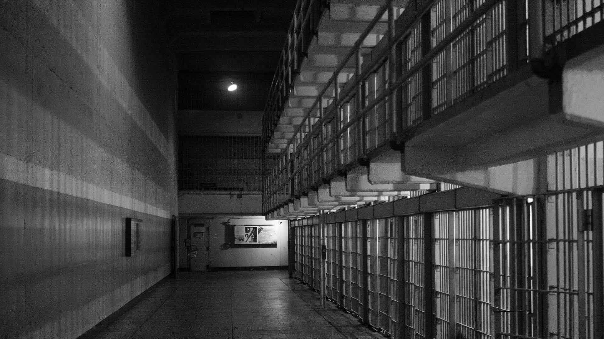 A block of cells in a prison
