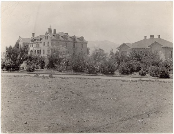 Old black and white photograph of Lincoln Hall and the University Hospital in 1912
