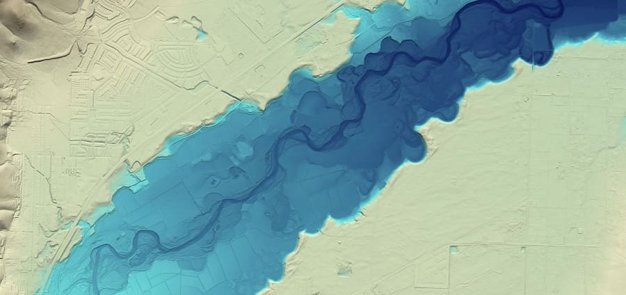The East Carson River flood plain as modeled by LIDAR. Streets are just visible in the desert sections, and the river can be seen snaking through the flood plain.