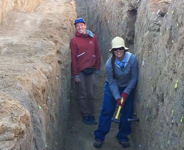 Two geologists in the cleared out trench of the Ridgecrest fault