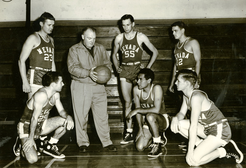 Jake Lawlor with 1951 Wolf Pack basketball