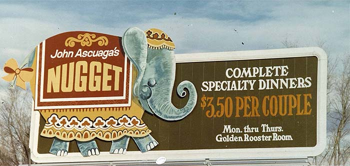 Billboard advertising $3.50 specialty dinners for couples at the Nugget with an illustration of Bertha's likeness