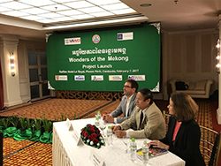 Zeb Hogan, Cambodia Secretary of State Nao Thuk and USAID-Cambodia mission director Polly Dunford speak to media during Wonders of the Mekong launch announcment.