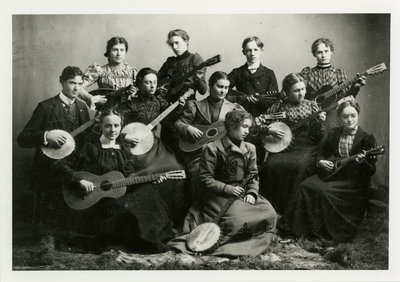 Group of University students with stringed instruments, antique photo