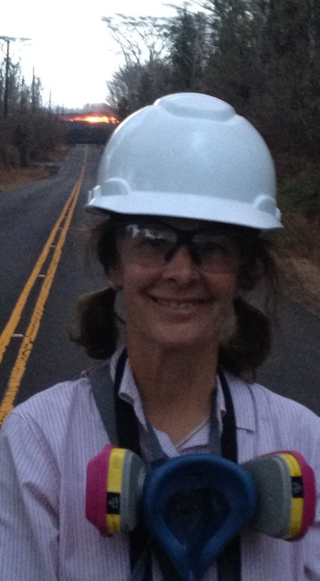 Bernadette Longo in front of lava flow in Kilauea