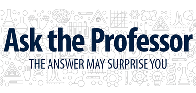 """Ask the Professor: The answer may surprise you!"" with science-related doodles in background"