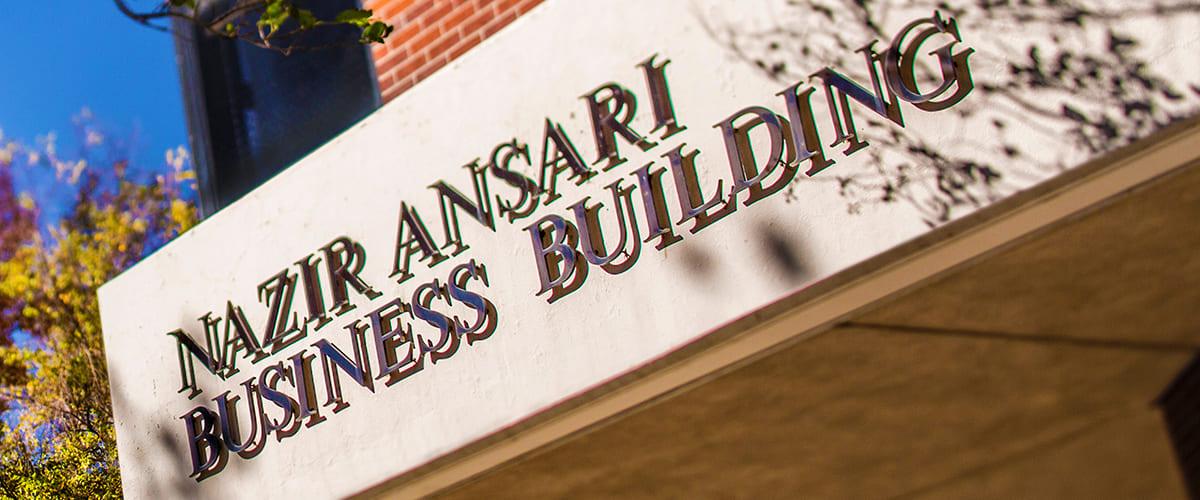 Nazir Ansari business building close up.