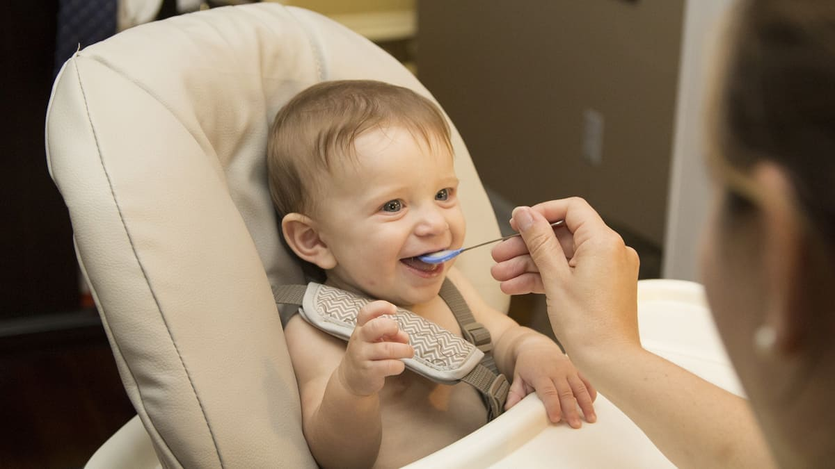 A young child in a high chair being fed a small spoonful of baby food by an adult.