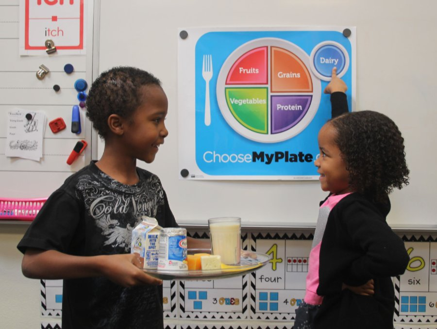 Boy holding plate of dairy while girl points to dairy section of MyPlate graphic