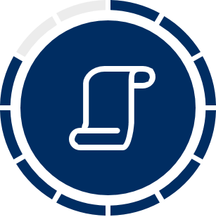 Icon of a scroll on blue circle background
