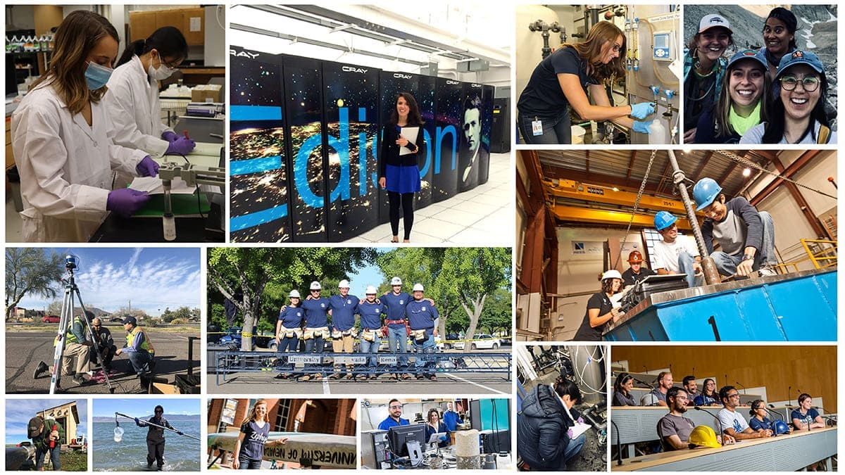 Collage of students in various civil and environmental engineering lab and field environments