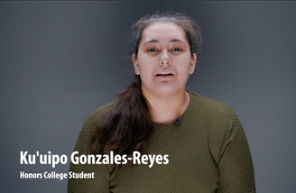 """Headshot of Ku'uipo Gonzales-Reyes with the words """"Ku'uipo Gonzales-Reyes, Honors College Student"""" in the bottom left corner."""