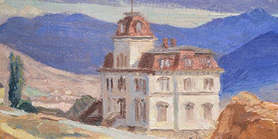 Oil painting of Morrill Hall in Nevada desert