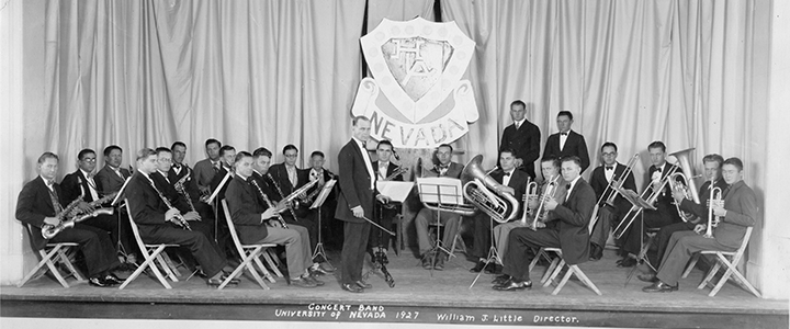 The University of Nevada Concert Band on stage with director William J. Little (circa 1927).