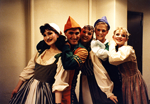 Cast of Kiss Me Kate in costume. From left to right: Carolyn Burrows, Craig Simon, Patty B Simon, Chad D Youngblood and unidentified person (circa 1989).