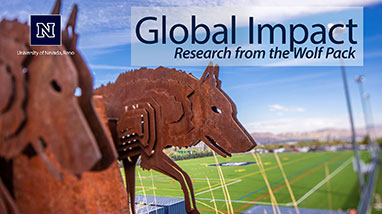 """Wolves statue sits on hill above football field with """"Global Impact: Research from the Wolf Pack"""" title overlayed"""