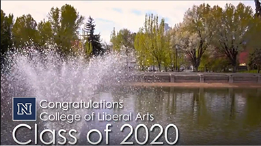 Fountain spraying water in Manzanita Lake with Congratulations College of Liberal Arts Class of 2020 message on top
